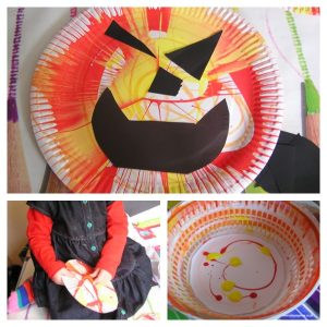 Spin Art Paper Plate Pumpkins Halloween Craft for Toddlers
