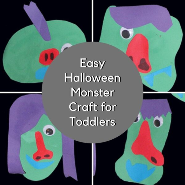 Collage of 4 monsters made by toddlers from paper as an easy Halloween Craft for toddlers the text reads Easy Halloween Monster Craft for Toddlers