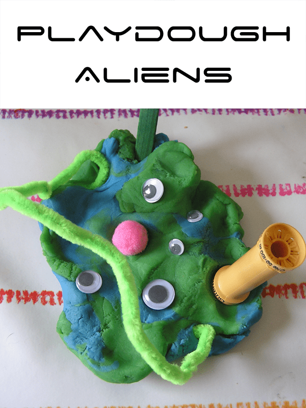 Simple play dough aliens part of Space Week for Toddlers Activities on Rainy Day Mum