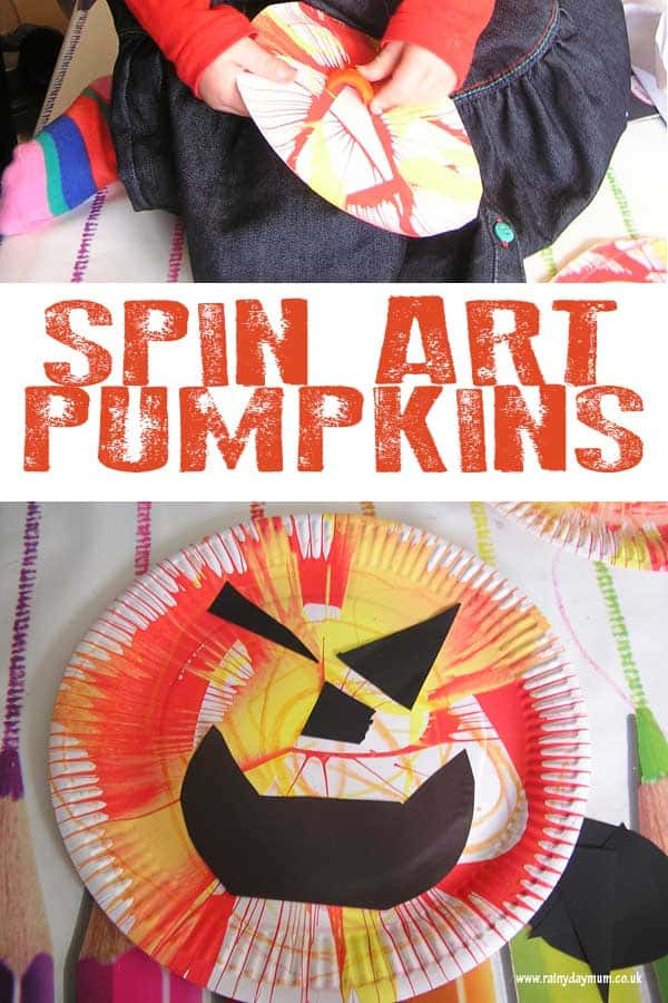 Simple Halloween craft for toddlers and preschoolers to create spin art pumpkins. Add on faces with black paper to create your own jack-o-lanterns.