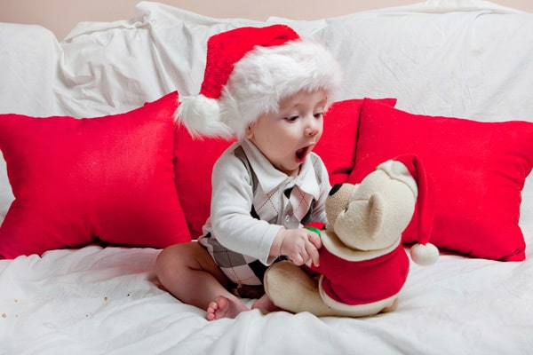 Baby with Christmas Teddy Bear a gift to treasure for Baby's First Christmas