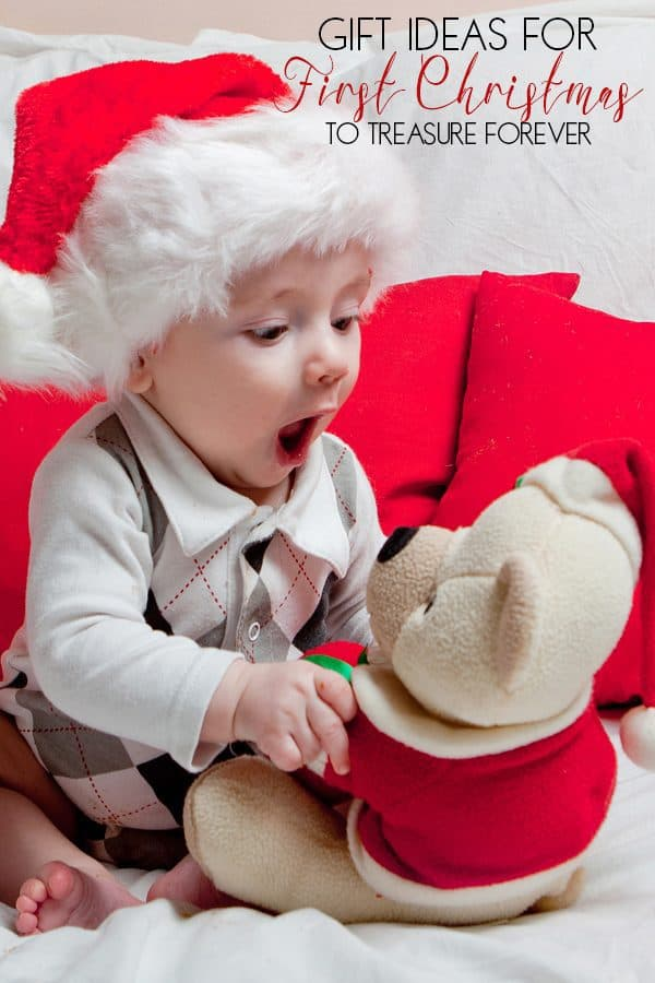 First Christmas teddy bear gift for baby's to treasure with suggestions of other gifts that will grow with your baby