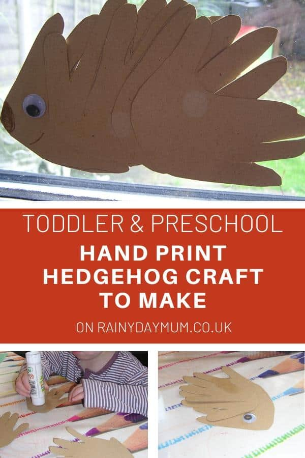 toddler and preschool hand print hedgehog craft to make