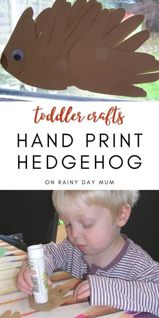 Toddler crafts - hand print hedgehogs