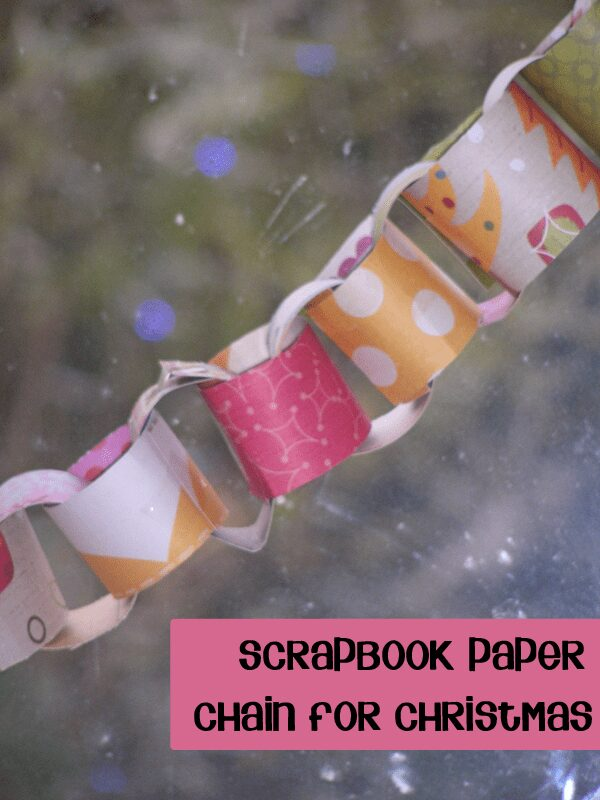Christmas paper chain from scrapbook paper from https://rainydaymum.co.uk ideal for preschoolers to make to decorate the house