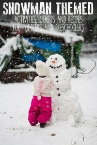 Fun snowman-themed crafts, learning activities and recipes ideal for toddlers and preschoolers to do this winter or Christmas time.