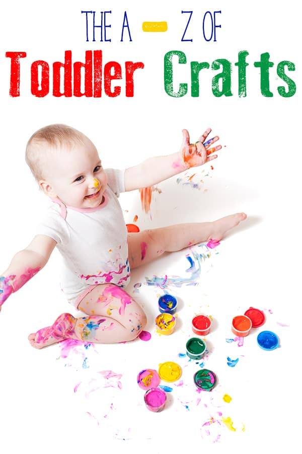 Young toddler covered in paint