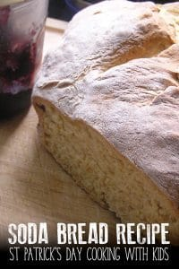 Easy St Patrick's Day Recipe to make traditional Irish Soda Bread perfect for cooking with kids as young as toddlers. Includes instructions on making your own buttermilk.