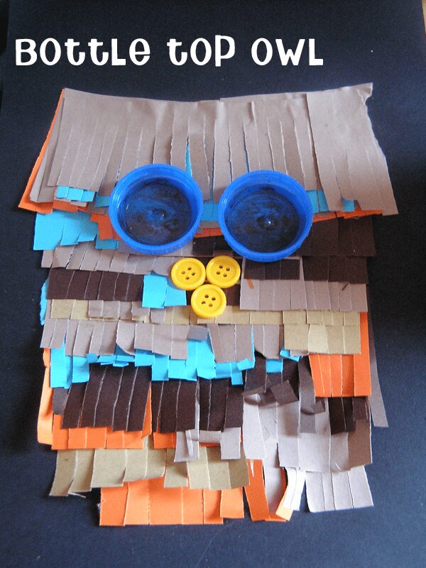 Bottle top craft - owl