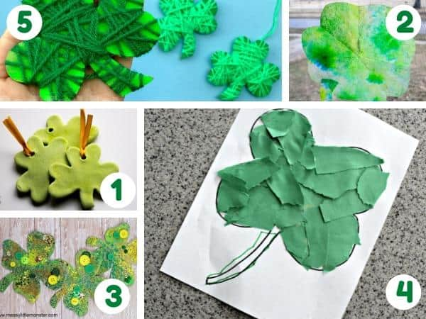 shamrock crafts for toddlers to make for St Patrick's Day
