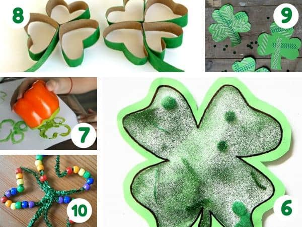 easy shamrock crafts featured on rainy day mum