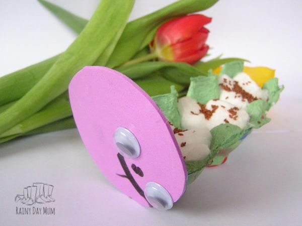 Cress caterpillar ready to grow made by a preschooler
