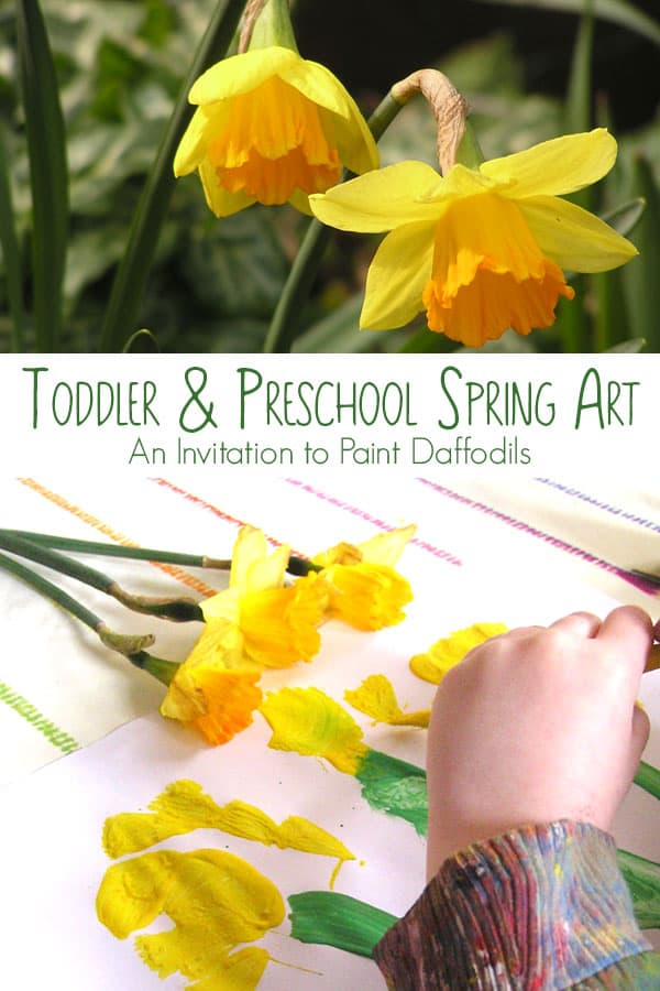 Spring Art Painting Daffodils with Toddlers and Preschoolers