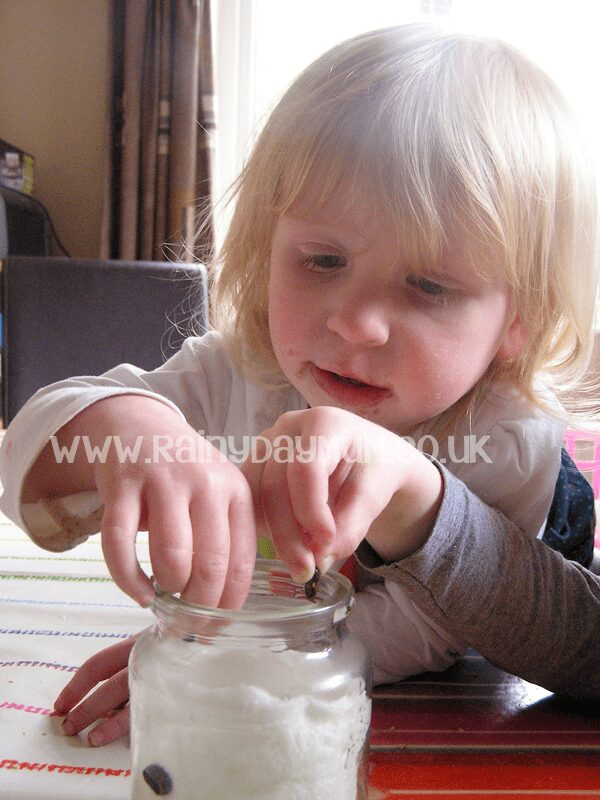 Toddler growing beans in a jar