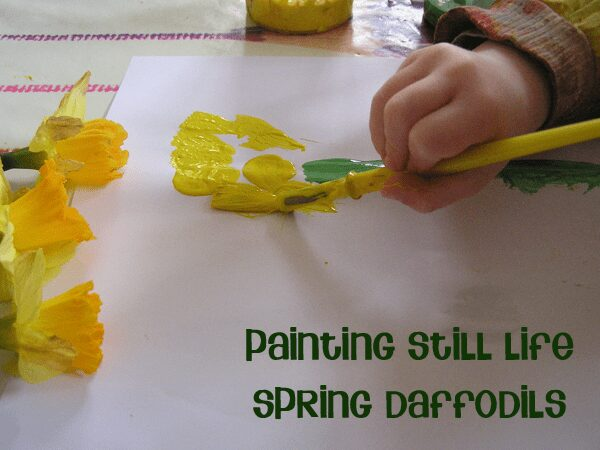 Painting Still life with preschoolers and toddlers, Spring Daffodils