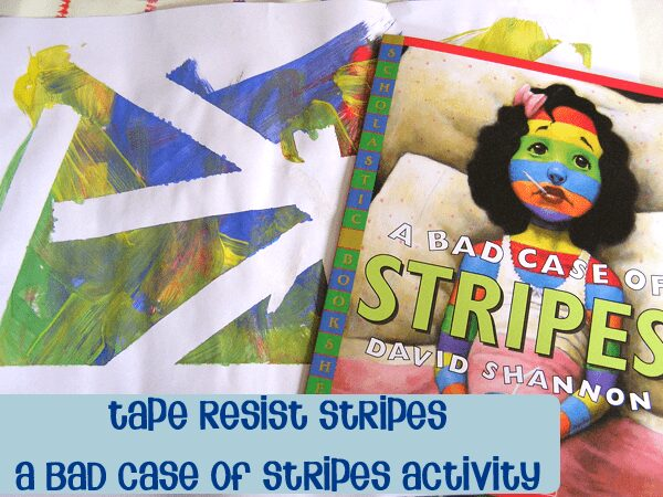 Virtual Book Club for Kids - David Shannon's book A bad case of Stripes with some Tape Resist Art