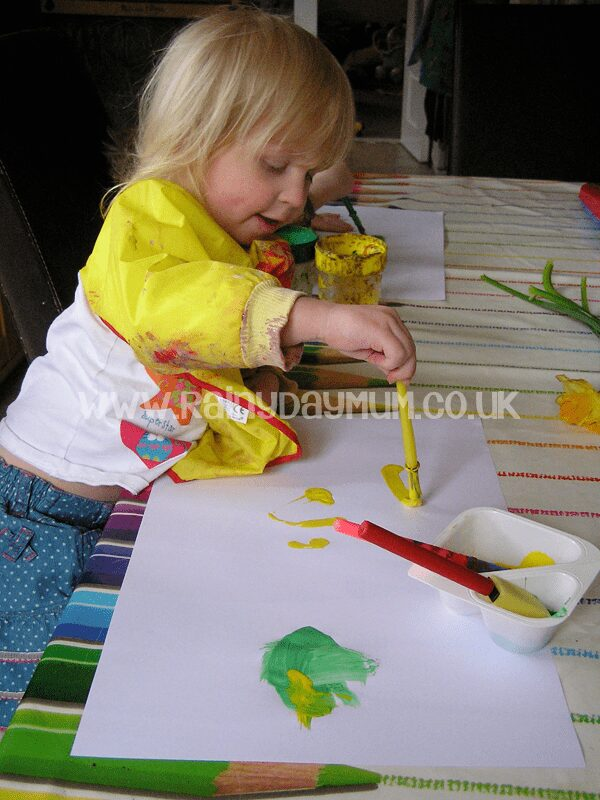Toddler Still Life Spring Daffodil Painting