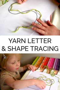 Pre-writing practice for Toddlers and Preschoolers with yarn, tracing of shapes and letters.