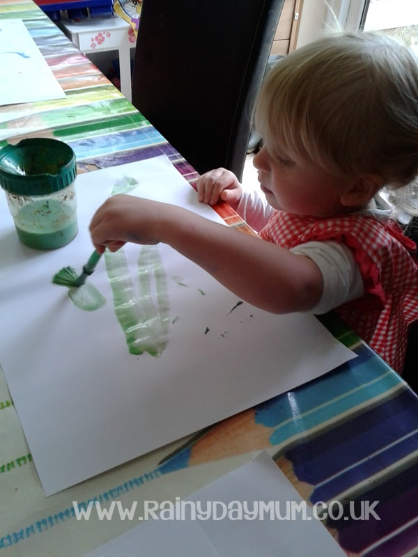 Exploring Artists with toddlers - creating Eric Carle inspired paper for collages inspired by his process