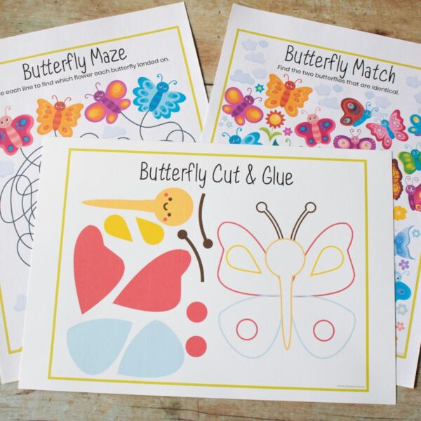 preview pages of the butterfly activity pack for spring and summer tot school fun from rainy day mum