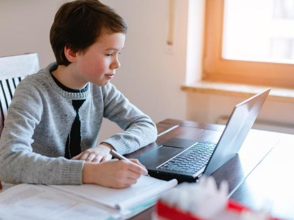 boy virtual distance learning at the kitchen table