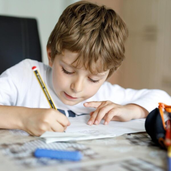child doing his home learning at the table