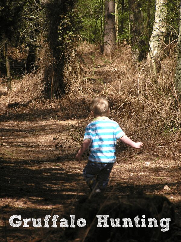preschooler going for a run in the woods looking for gruffalos