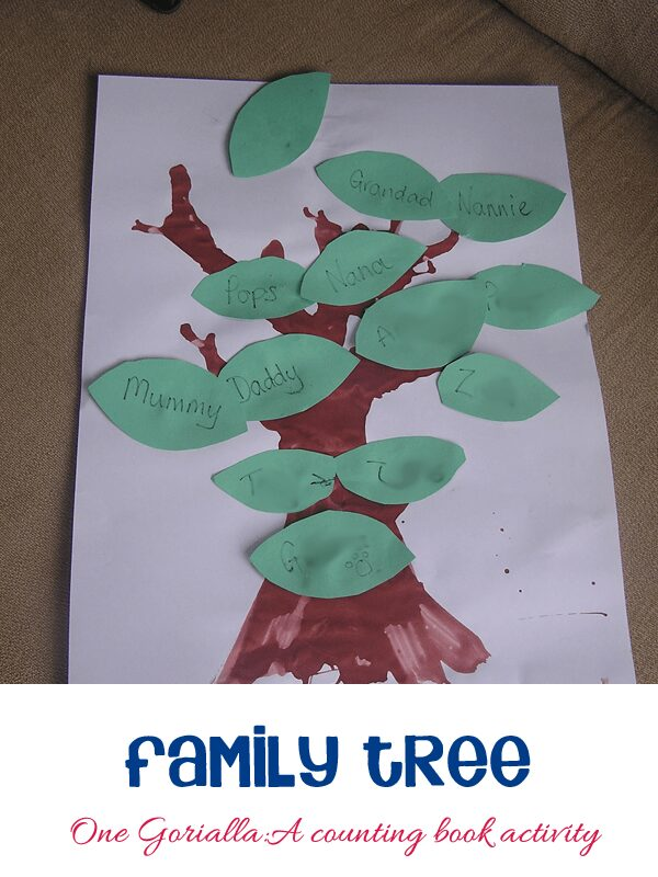 Family Tree Activity to go with the book One Gorilla:A counting book by Anthony Browne