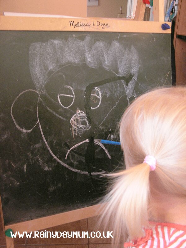sad face - tracining emotions on the chalkboard