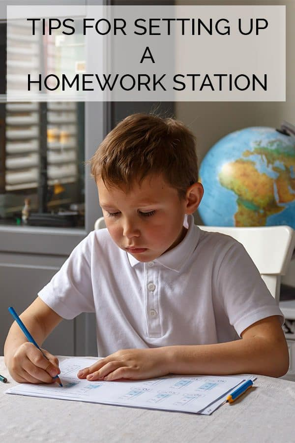Tips for setting up a homework station in your house from a Mom and Teacher.