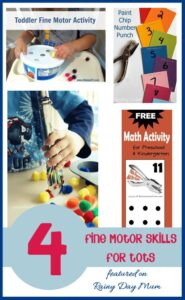 4 Fine motor activities for Tots - with Tuesday Tots Link up over 100 ideas linked up each week.