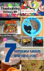 7 Ideas for Sensory Tray, tables and bins for tots to explore and investigate
