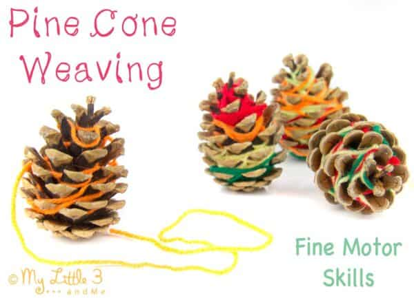 pine cones covered in yarn a simple weaving project for fine motor skills with kids