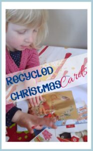 Get saving those Christmas Cards this year and make them into a cute Christmas card to send next year with your children with this simple recycled Christmas Card Craft