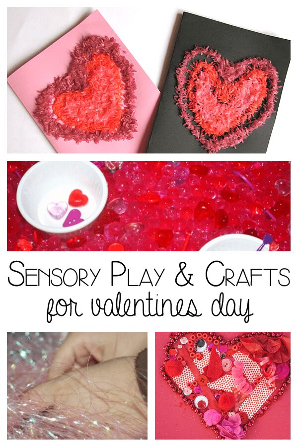 Simple ideas for sensory play and crafts for valentines day