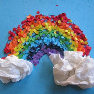 confetti rainbow art work for kids