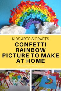 kids arts and crafts confetti rainbow picture to make at home