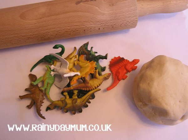 salt dough and toy dinosaurs easy to make fossils with the kids