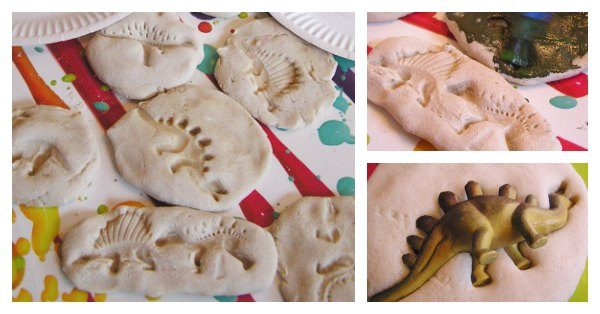 mould fossils created in salt dough by kids