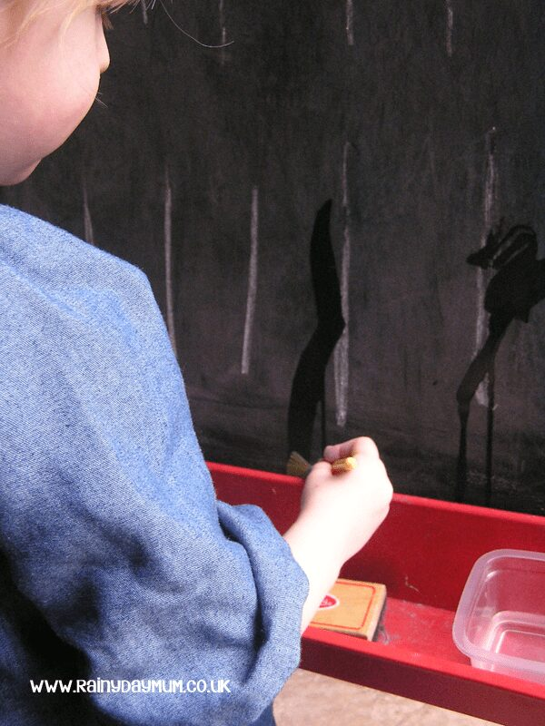 Mess free chalk board painting - developing prewriting skills