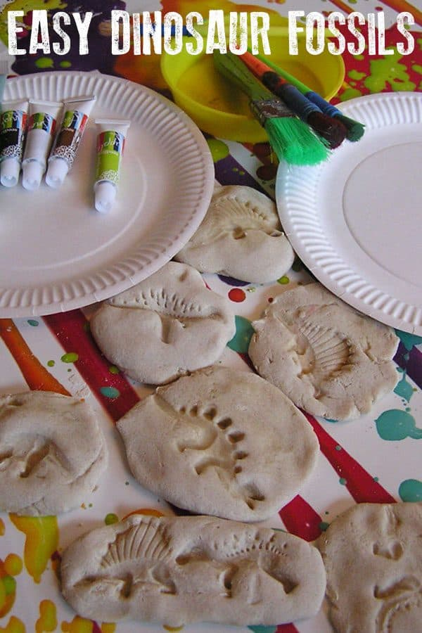 Make these dinosaur fossils with kids out of 3 kitchen ingredients and then paint them to make them more realistic or leave them natural.