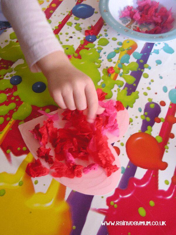 Valentines Craft for Kids Tissue Paper Heart Craft