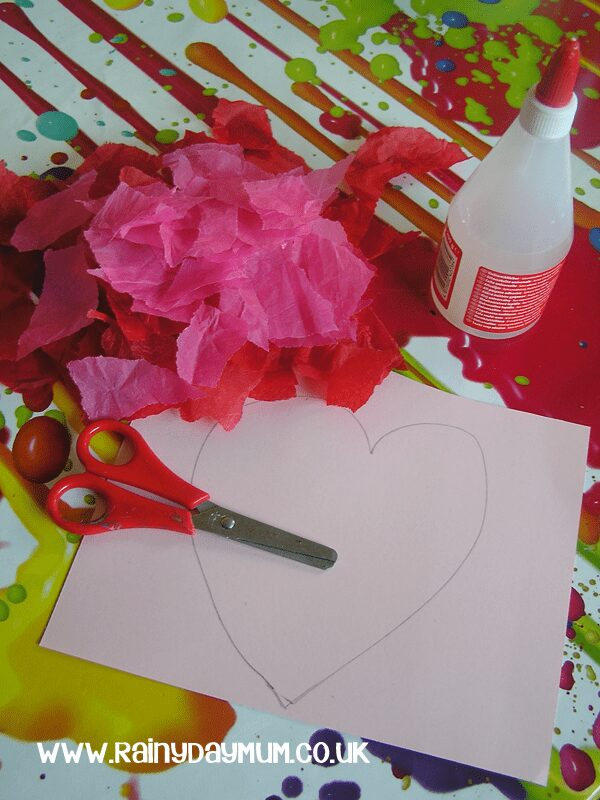 Materials for Tissue Paper Heart Valentines Card