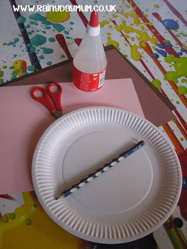 Materials for a Paper Plate Monkey