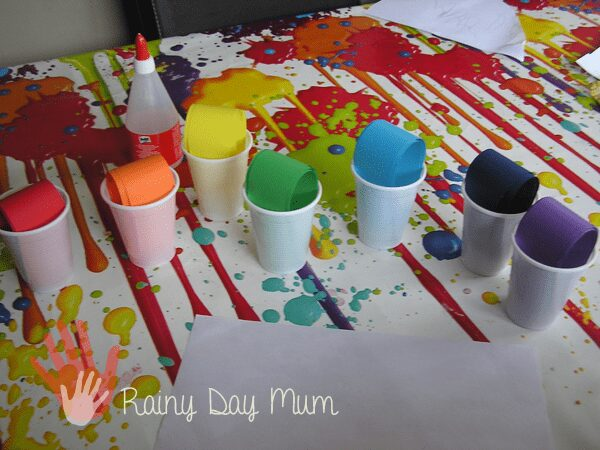 Creation Station for Creating a Confetti Rainbow Picture