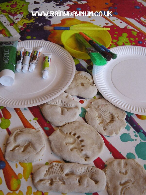 salt dough dinosaur fossils ready to paint