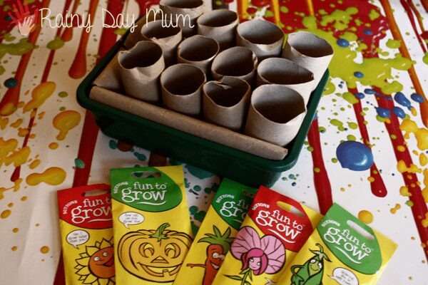 cardboard tube Seedling pots with a set of suttons kids seeds on a colourful table ready for kids to plant some seeds this year