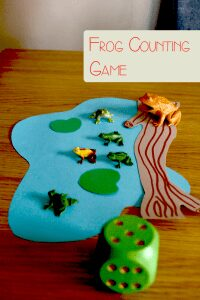 Simple DIY Frog Counting Game set up for preschoolers to play including wooden die and toy frogs plus a handmade log and lily pond.