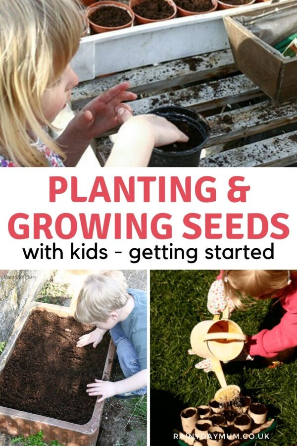 Pinterest image of collage of rainy day mum kids starting seeds off in spring