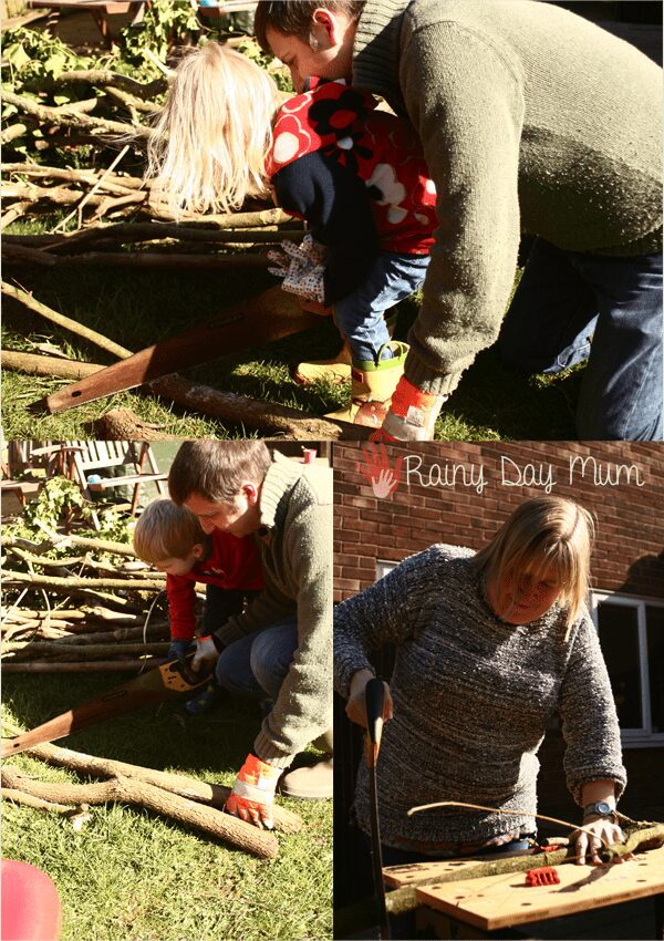 family fun creating a log pile home for creature in the garden